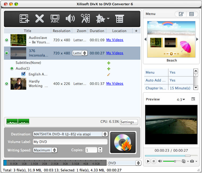 Xilisoft DivX to DVD Converter for Mac Screenshot 1