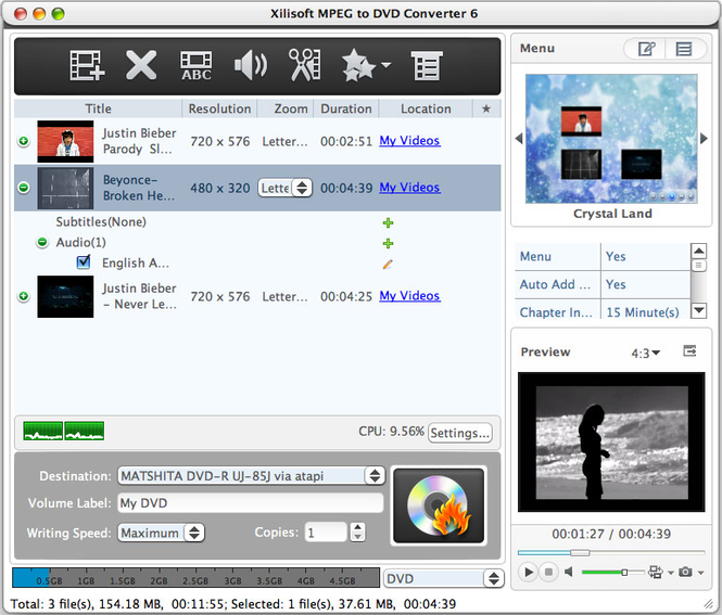 Xilisoft MPEG to DVD Converter for Mac Screenshot