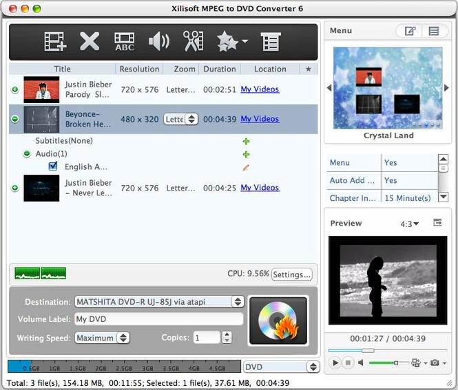 Xilisoft MPEG to DVD Converter for Mac Screenshot 1