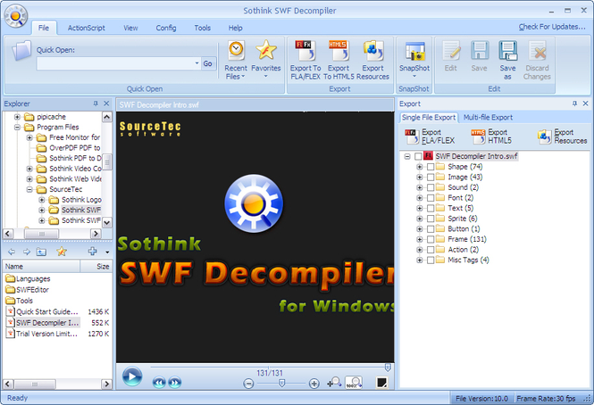 Sothink SWF to FLA Converter Screenshot
