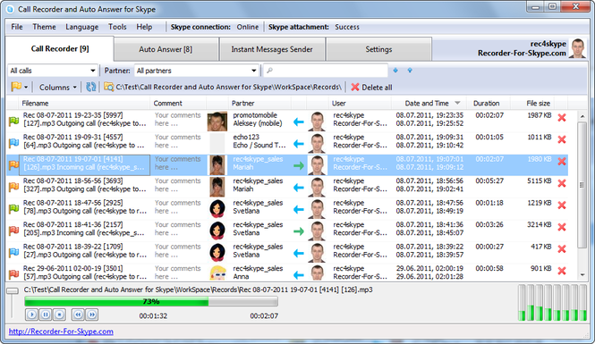 Call Recorder and Auto Answer for Skype Screenshot