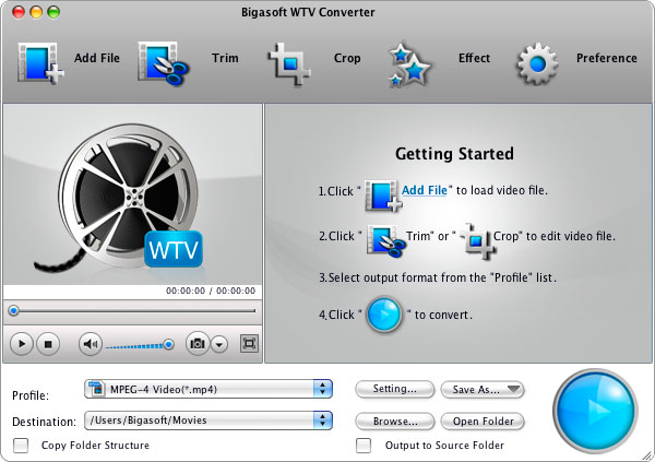 Bigasoft WTV Converter for Mac Screenshot