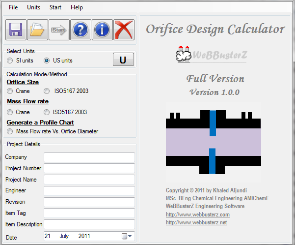 Orifice Design Calculator Screenshot