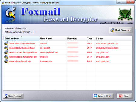 Foxmail Password Decryptor Screenshot