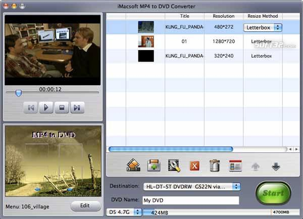 iMacsoft MP4 to DVD Converter for Mac Screenshot 2