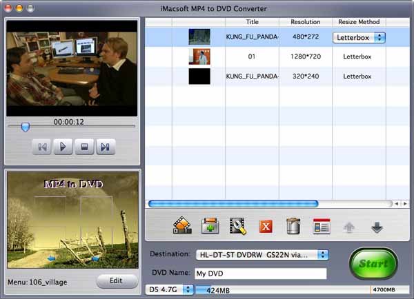 iMacsoft MP4 to DVD Converter for Mac Screenshot