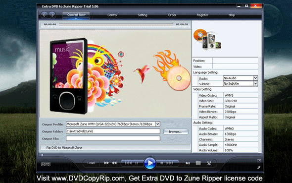Extra DVD to Zune Ripper Screenshot