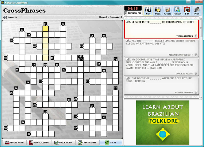 Kurupira Crossword Puzzles Screenshot