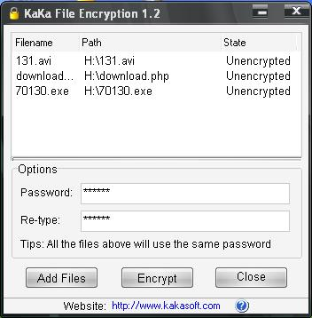 KaKa File Encryption Screenshot