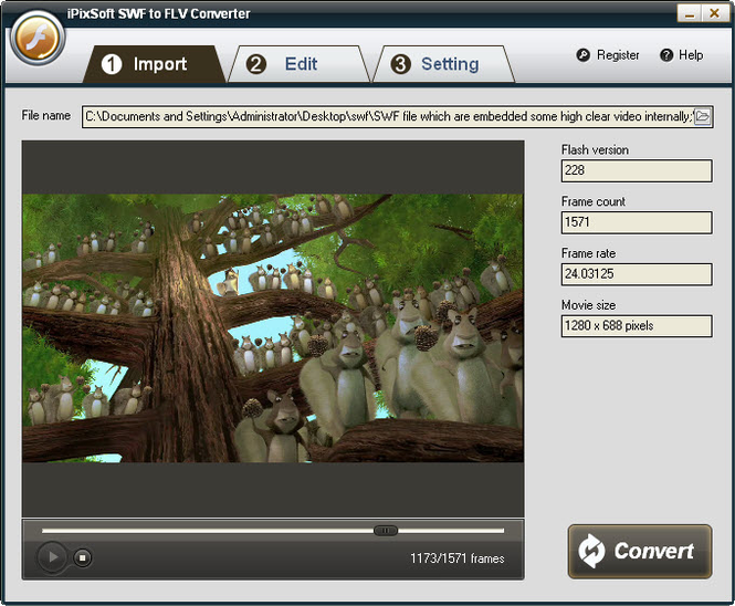 iPixSoft SWF to FLV Converter Screenshot
