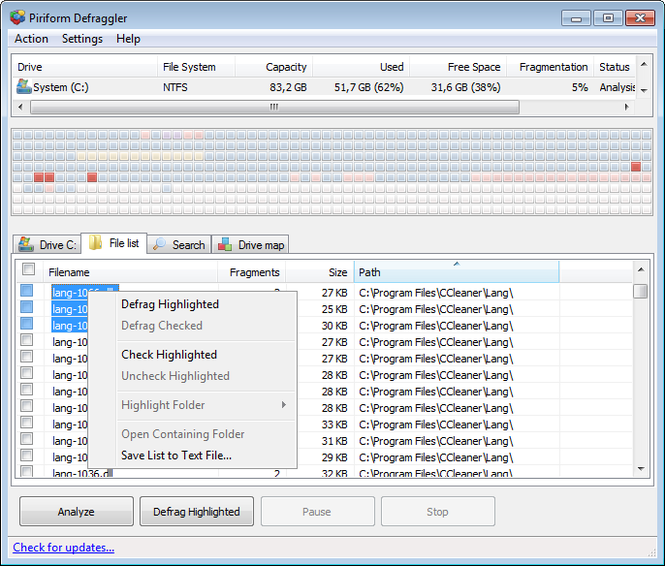 Defraggler Screenshot 5