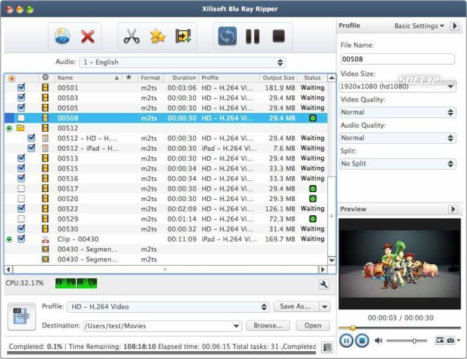 Xilisoft Blu Ray Ripper for Mac Screenshot 2