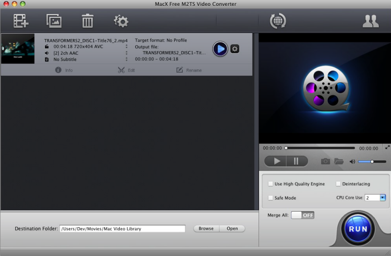 MacX Free M2TS Video Converter Screenshot 2