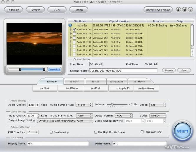 MacX Free M2TS Video Converter Screenshot 3