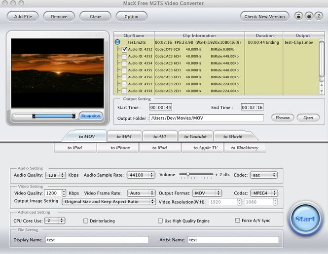 MacX Free M2TS Video Converter Screenshot 1