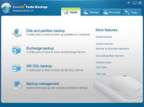 EaseUS Todo Backup Advanced Server Screenshot