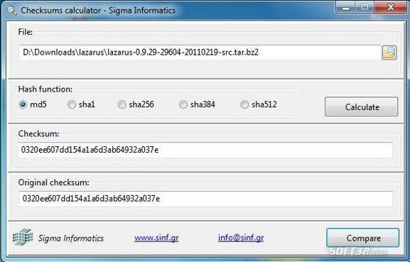Checksums calculator Screenshot 2