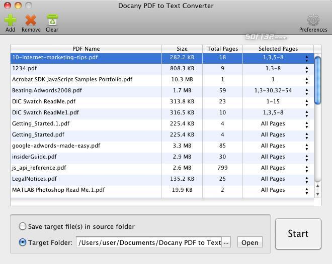 Docany PDF to Text Converter for Mac Screenshot