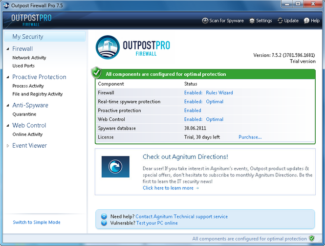Agnitum Outpost Firewall Pro (64-bit) Screenshot 1