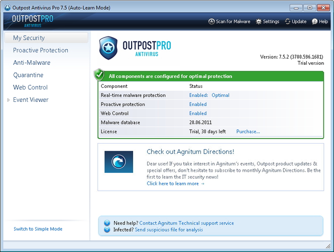 Agnitum Outpost Antivirus Pro (64-bit) Screenshot 1