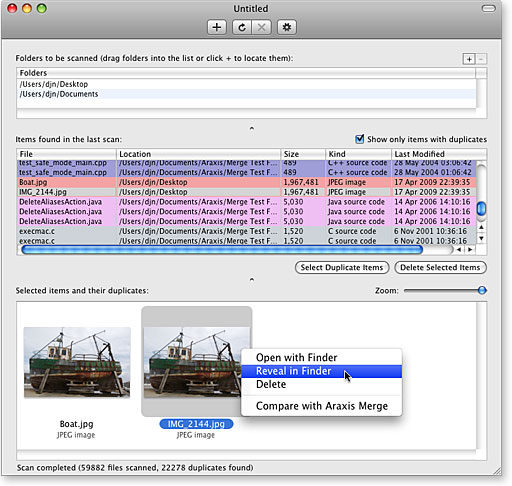 Araxis Find Duplicate Files for OS X Screenshot
