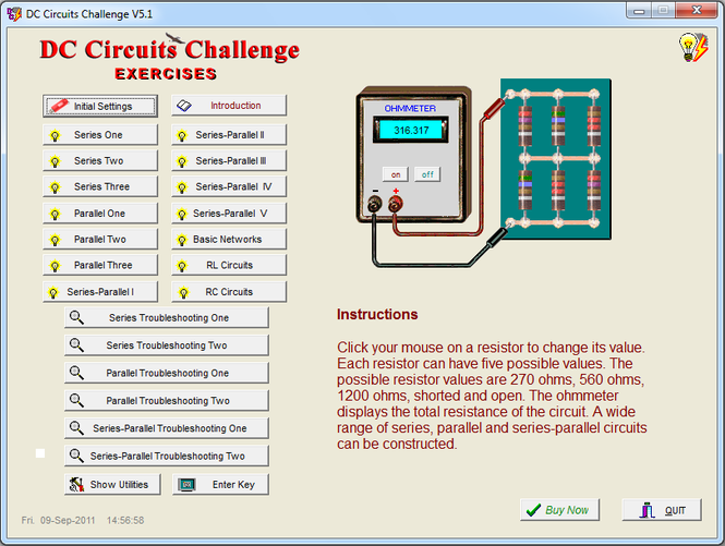 DC Circuits Challenge Screenshot