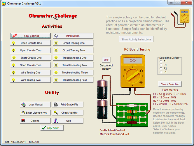 Ohmmeter Challenge Screenshot