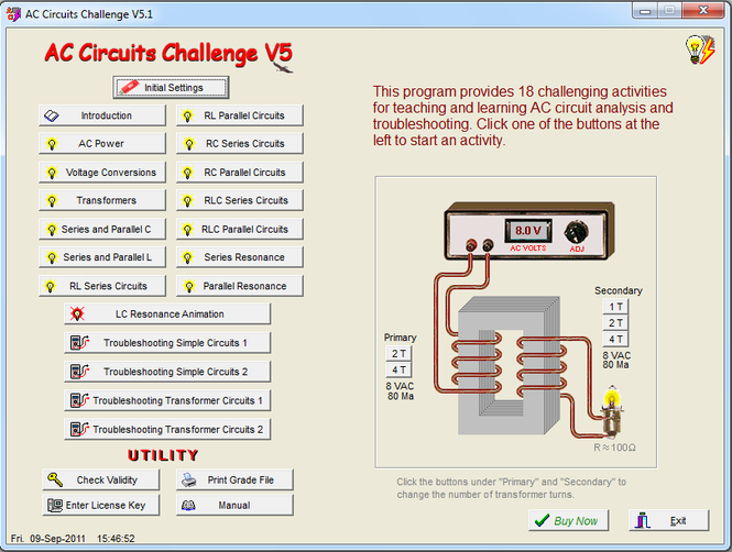 AC Circuits Challenge Screenshot