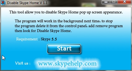Disable Skype Home Screenshot