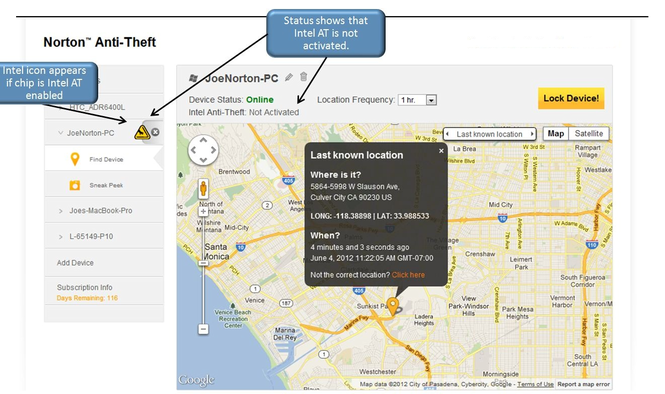 Norton Anti-Theft Screenshot 1