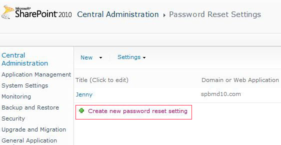 SharePoint Password Reset Screenshot