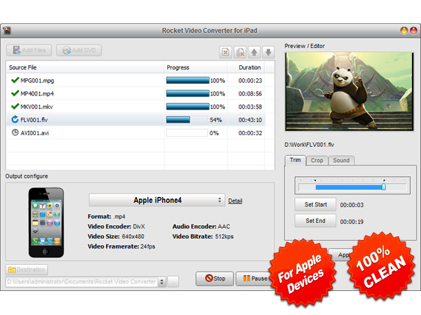 Rocket Video Converter for iPad Screenshot 1