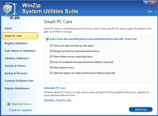 WinZip System Utilities Suite Screenshot 1