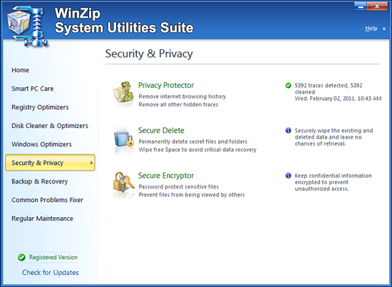 WinZip System Utilities Suite Screenshot 2