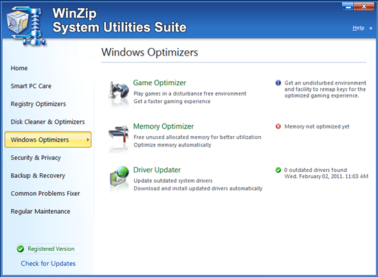 WinZip System Utilities Suite Screenshot 3