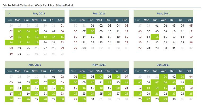 Virto Ajax SharePoint Mini Calendar Screenshot 1