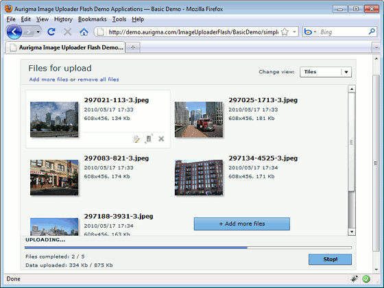 Aurigma PHP File Upload Screenshot