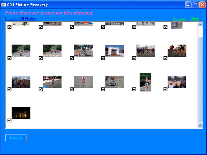 001 Picture Recovery Screenshot