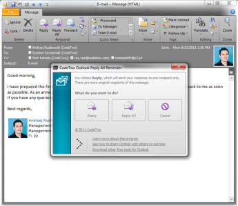 CodeTwo Outlook Reply All Reminder Screenshot 1