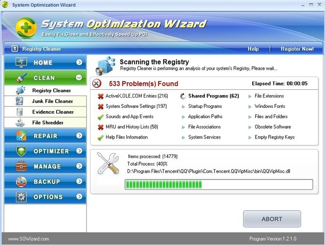 System Optimization Wizard Screenshot 1