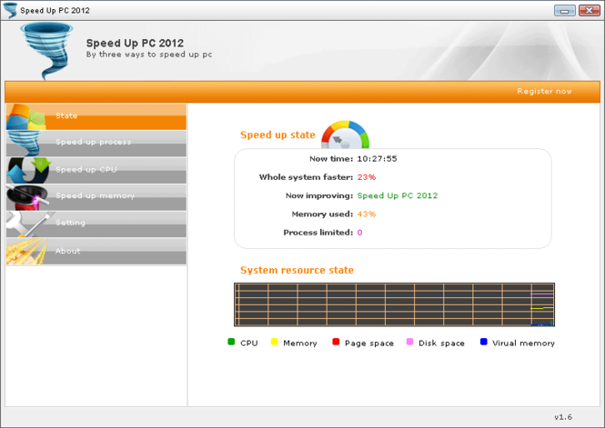 Speed Up PC 2012 Screenshot 1