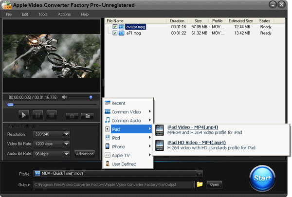 Apple Video Converter Factory Pro Screenshot