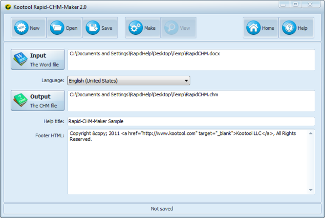 Rapid CHM Maker Screenshot