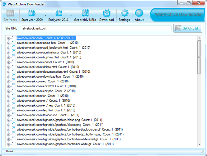 Web Archive Downloader Screenshot