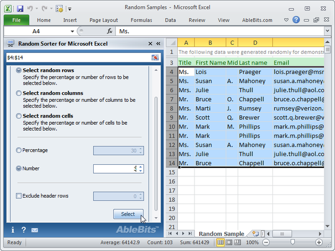 Random Sorter for Microsoft Excel Screenshot