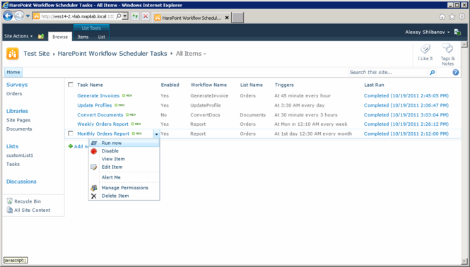 HarePoint Workflow Scheduler Screenshot