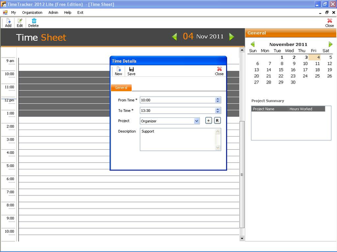 Timetracker Lite 2012:Free Timesheet Screenshot 1