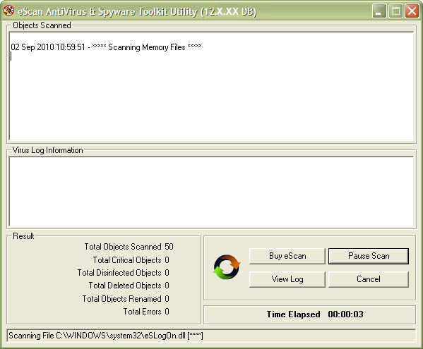 eScan Anti Virus and AntiSpyware Toolkit Screenshot