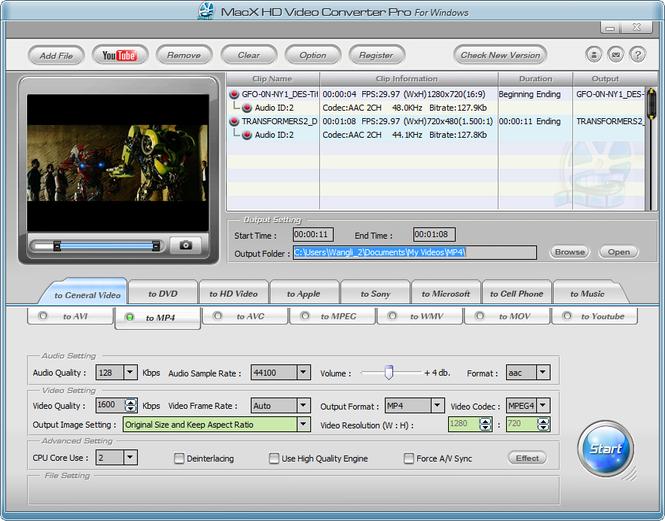 MacX HD Video Converter Pro for Windows Screenshot