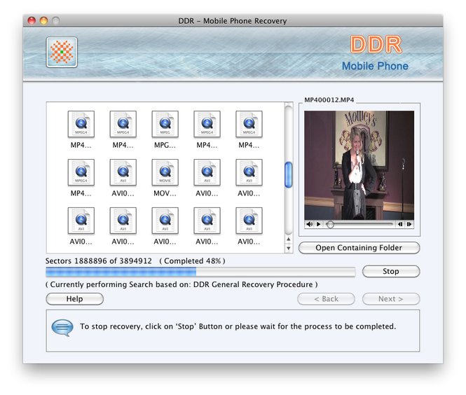 Mobile Phone Mac Data Recovery Screenshot
